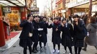 東京での班別自主行動の様子